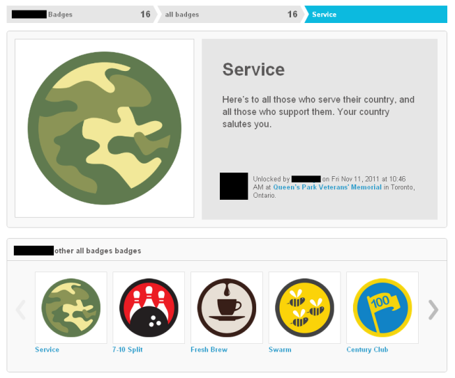 Image showing the badge you win for Memorial check-ins on 11.11.11